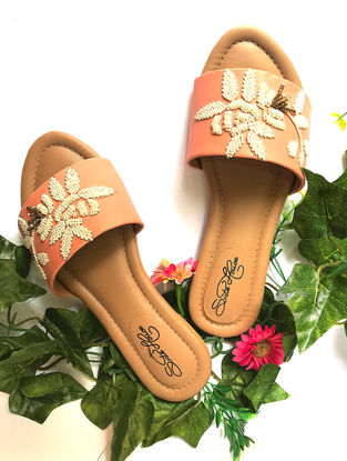 Peach-Cream Hand-Embroidered Vegan Leather Flats