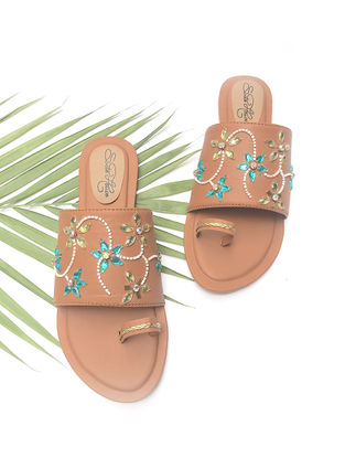 Tan Hand-Embroidered Flats with Turquoise-Beige Rhinestones