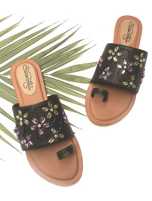 Black Hand-Embroidered Flats with Lilac-Beige Rhinestones