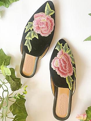Black-Pink Embroidered Velvet Mules