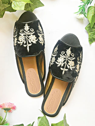 Black-Silver Zari Embroidered Velvet Loafers