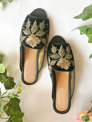 Black-Gold Zari Embroidered Velvet Loafers