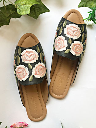 Black-Peach Embroidered Vegan Leather Loafers