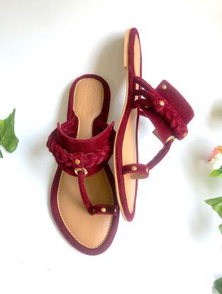 Maroon Handcrafted Velvet Kohlapuris