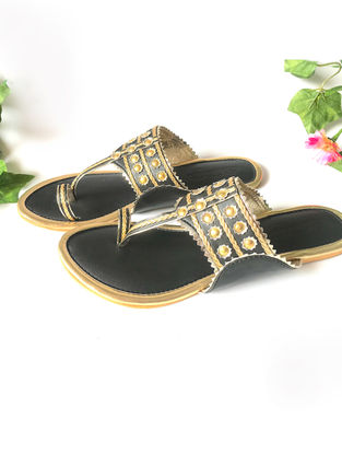 Black-Gold Vegan Leather Kolhapuri Flats