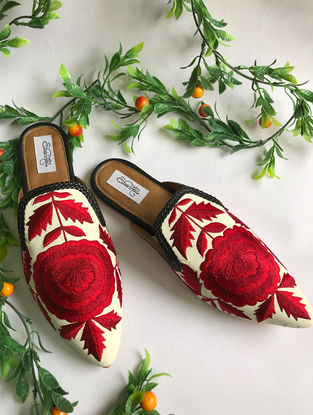 White-Red Thread Embroidered Vegan Leather Slip-Ons