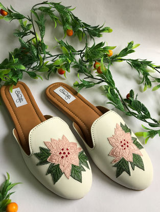 White-Pink Thread Embroidered Vegan Leather Slip-Ons