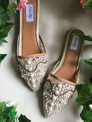 Beige Handcrafted Flats with Lace Embellishments