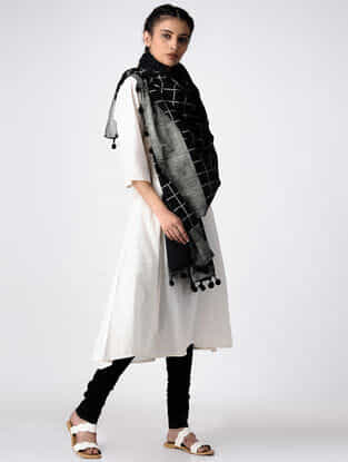 Black Hand Block-printed Cotton Dupatta