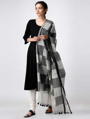 Ivory-Black Hand Block-printed Cotton Dupatta