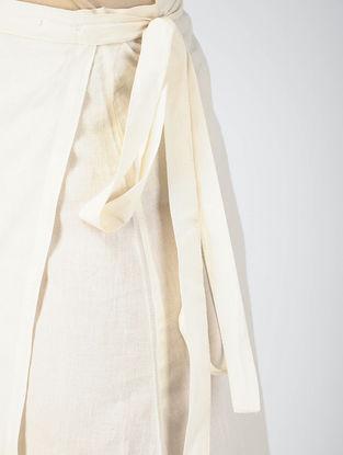 Black-White Block-printed Cotton Wrap Around Skirt