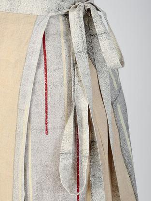 Grey-Beige Block-printed Cotton Wrap Around Skirt