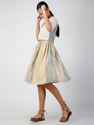 Grey-Beige Elasticated Waist Block-printed Cotton Skirt