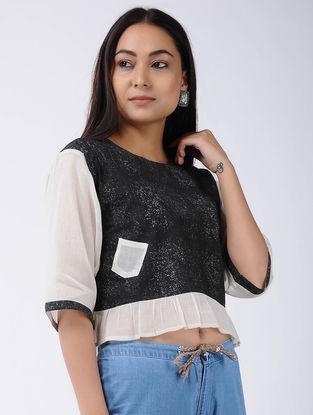 Black Block-printed Cotton Crop Top