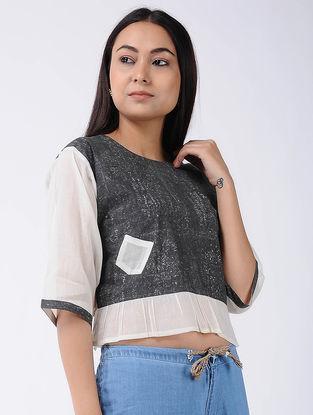 Grey Block-printed Cotton Crop Top