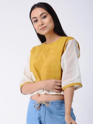 Yellow Block-printed Cotton Crop Top