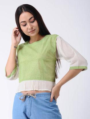 Green Block-printed Cotton Crop Top