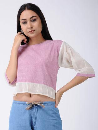 Pink Block-printed Cotton Crop Top