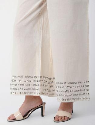 White-Grey Tie-up Waist Block-printed Cotton Palazzos