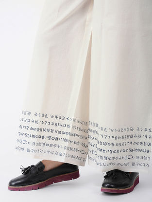 White-Blue Tie-up Waist Block-printed Cotton Palazzos