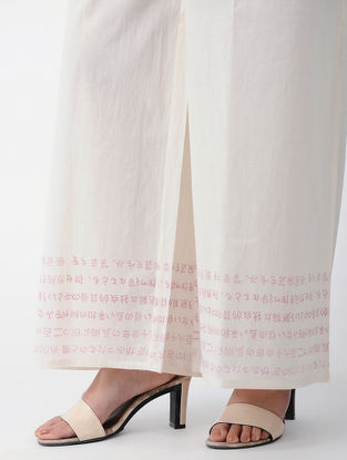 White-Pink Tie-up Waist Block-printed Cotton Palazzos