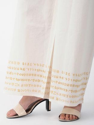 White-Yellow Tie-up Waist Block-printed Cotton Palazzos