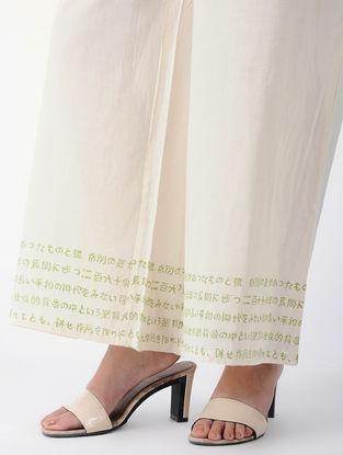 White-Green Tie-up Waist Block-printed Cotton Palazzos