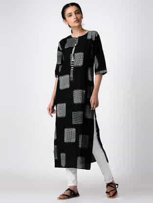 Black Hand Block-printed Cotton Kurta