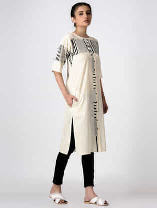 Ivory Hand Block-printed Cotton Kurta with Pocket
