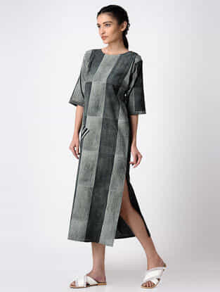 Black-Grey Hand Block-printed Cotton Dress with Slit