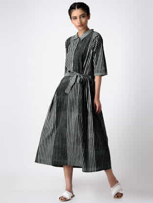 Black-Grey Tie-up Hand Block-printed Cotton Dress with Gathers