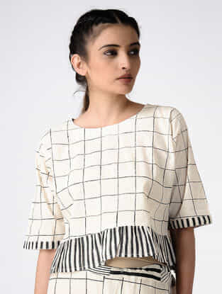 Ivory Hand Block-printed Cotton Crop Top with Gathers