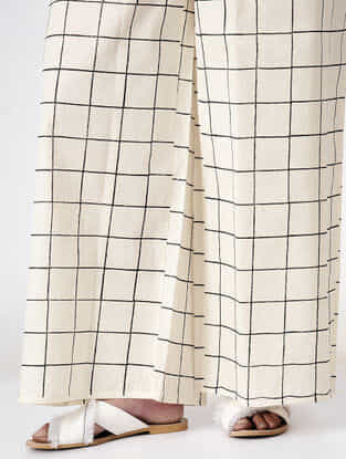 Ivory Tie-up Waist Hand Block-printed Cotton Pants