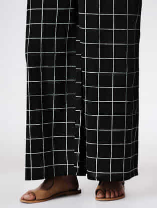 Black Tie-up Waist Hand Block-printed Cotton Pants