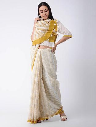 White-Yellow Block-printed Cotton Saree
