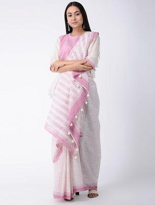 White-Pink Block-printed Cotton Saree