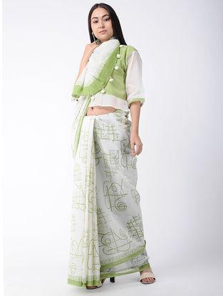 White-Green Block-printed Cotton Saree