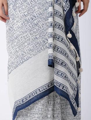 White-Blue Block-printed Cotton Saree