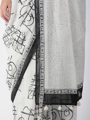 White-Black Block-printed Cotton Saree