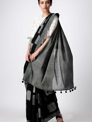 Black Hand Block-printed Cotton Saree