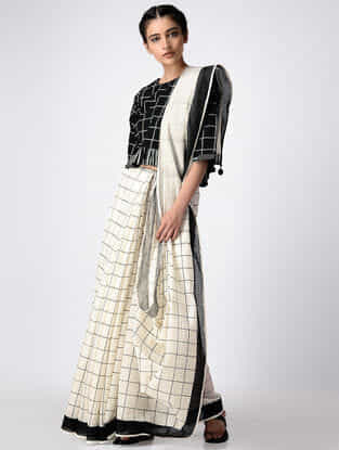 Ivory-Black Hand Block-printed Cotton Saree