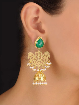 Pair of Classic Drop Jhumki Silver Earrings