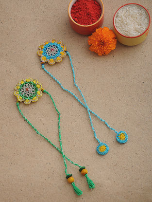 Green-Blue Thread Crochet Rakhi (Set of 2)