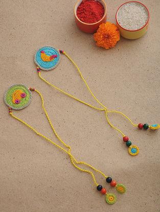 Yellow-Blue Thread Crochet Rakhi (Set of 2)
