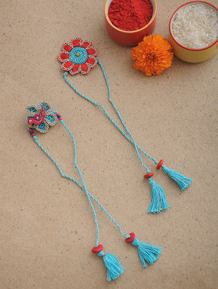 Pink-Blue Thread Crochet Rakhi (Set of 2)