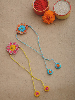 Multicolored Thread Crochet Rakhi (Set of 2)
