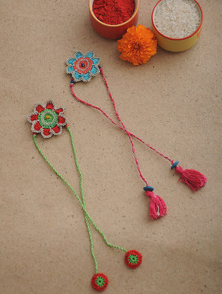 Pink-Green Thread Crochet Rakhi (Set of 2)