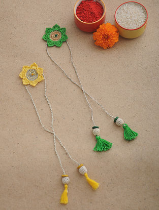 Green-Yellow Thread Crochet Rakhi (Set of 2)