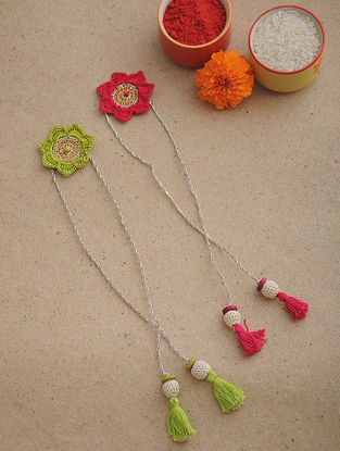 Green-Pink Thread Crochet Rakhi (Set of 2)