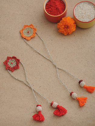 Orange-Red Thread Crochet Rakhi (Set of 2)